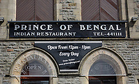 """COPY BY TOM BEDFORD<br />Pictured: The Prince of Bengal restaurant in Pontypridd, Wales, UK. Monday 03 April 2017<br />Re: Chef Kamrul Islam who attacked a client with chilli powder is due to appear before Merthyr Tydfil Magistrates Court.<br />David Evans was at the Prince of Bengal restaurant on Saturday night when the incident took place.<br />The 46-year-old was out for dinner with his wife Michelle when they were asked by a waiter if they were enjoying their curry.<br />The couple said they told the waiter their meal was """"tough and rubbery"""" and he passed the complaint onto the head chef.<br />Michelle said chilli powder was then thrown into her husband's eyes and he was taken to hospital."""