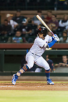 Scottsdale Scorpions second baseman Andres Gimenez (13), of the New York Mets organization, at bat during an Arizona Fall League game against the Surprise Saguaros at Scottsdale Stadium on October 15, 2018 in Scottsdale, Arizona. Surprise defeated Scottsdale 2-0. (Zachary Lucy/Four Seam Images)