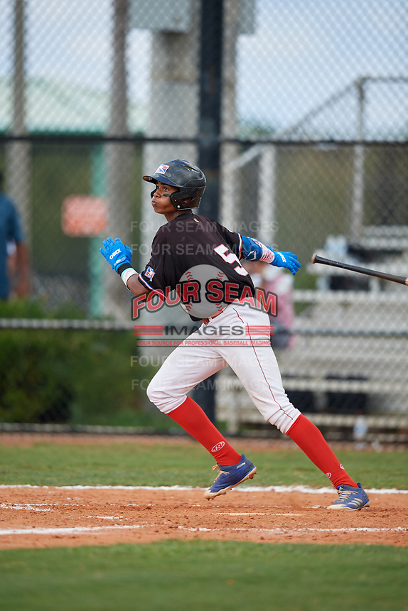 Joseph Diaz (5) during the Dominican Prospect League Elite Florida Event at Pompano Beach Baseball Park on October 15, 2019 in Pompano beach, Florida.  (Mike Janes/Four Seam Images)