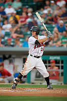 Indianapolis Indians second baseman Adam Frazier (26) at bat during a game against the Rochester Red Wings on July 24, 2018 at Victory Field in Indianapolis, Indiana.  Rochester defeated Indianapolis 2-0.  (Mike Janes/Four Seam Images)
