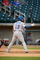Tennessee Smokies third baseman Vimael Machin (13) at bat during a game against the Birmingham Barons on August 16, 2018 at Regions FIeld in Birmingham, Alabama.  Tennessee defeated Birmingham 11-1.  (Mike Janes/Four Seam Images)