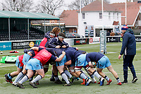 Lewis Wynne of London Scottish watches the scrum during the Greene King IPA Championship match between Ealing Trailfinders and London Scottish Football Club at Castle Bar , West Ealing , England  on 19 January 2019. Photo by Carlton Myrie/PRiME Media Images