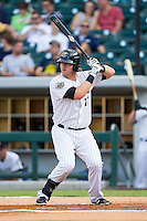 Andy Wilkins (17) of the Charlotte Knights at bat against the Gwinnett Braves at BB&T Ballpark on August 19, 2014 in Charlotte, North Carolina.  The Braves defeated the Knights 10-5.   (Brian Westerholt/Four Seam Images)
