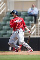 Emmanuel Marrero (16) of the Lakewood BlueClaws follows through on his swing against the Kannapolis Intimidators at Kannapolis Intimidators Stadium on May 8, 2016 in Kannapolis, North Carolina.  The Intimidators defeated the BlueClaws 3-2.  (Brian Westerholt/Four Seam Images)