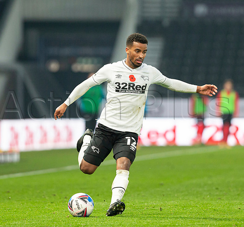 7th November 2020; Pride Park, Derby, East Midlands; English Football League Championship Football, Derby County versus Barnsley; Nathan Byrne of Derby County crossing the ball