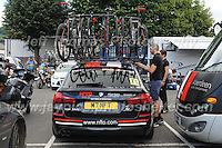 "The NFTO team emergency bicycles are checked over before the race during the Abergavenny Festival of Cycling ""Grand Prix of Wales"" race on Sunday 17th 2016<br /> <br /> <br /> Jeff Thomas Photography -  www.jaypics.photoshelter.com - <br /> e-mail swansea1001@hotmail.co.uk -<br /> Mob: 07837 386244 -"
