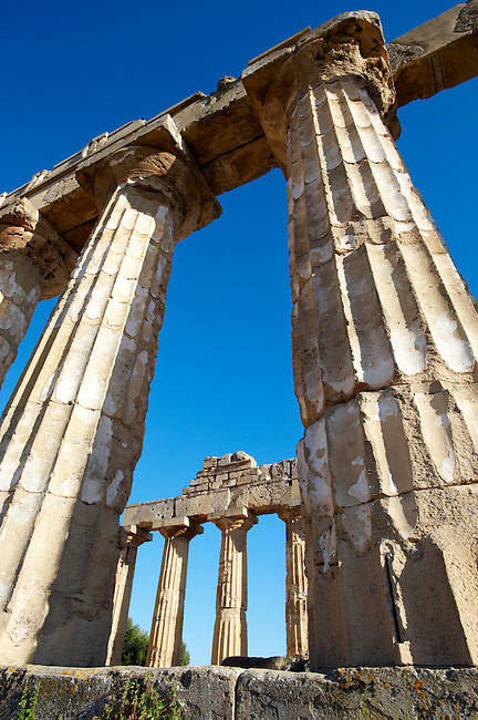 Greek Dorik columns at the  ruins of Temple F at Selinunte, Sicily photography, pictures, photos, images & fotos. Greek Dorik Temple columns of the ruins of the Temple of Hera, Temple E, Selinunte, Sicily