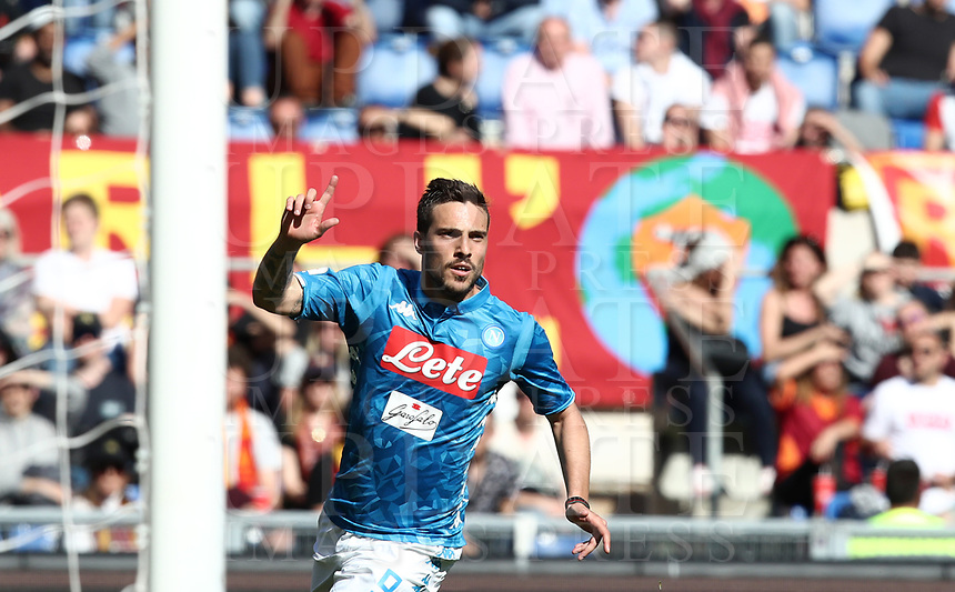Football, Serie A: AS Roma - SSC Napoli, Olympic stadium, Rome, March 31, 2019. <br /> Napoli's Simone Verdi celebrates after scoring during the Italian Serie A football match between Roma and Napoli at Olympic stadium in Rome, on March 31, 2019.<br /> UPDATE IMAGES PRESS/Isabella Bonotto
