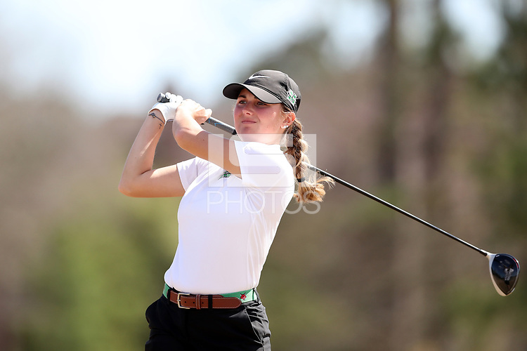WALLACE, NC - MARCH 09: Peyton Schaffer of Marshall University tees off on the 13th hole of the River Course at River Landing Country Club on March 09, 2020 in Wallace, North Carolina.