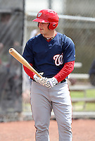 March 22, 2010:  Catcher Derek Norris of the Washington Nationals organization during Spring Training at the Carl Barger Training Complex in Melbourne, FL.  Photo By Mike Janes/Four Seam Images