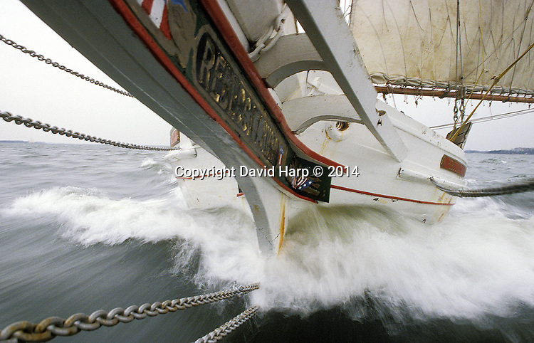 The skipjack Rebecca T. Ruark  heads downwind with a load of oysters