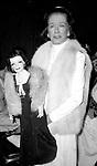 Joan Bennett posing with a Joan Bennett Doll on November 1, 1981 in New York City.