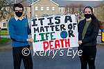 Students Emmett Christy and Saoirse Maloney holding an Awareness Campaign for the Climate Action change at the Kerry County Council buildings at Rathass on Friday