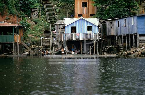Manaus, Brazil. Houses built on stilts on the banks of the Amazon River for the annual rise and fall in water level.