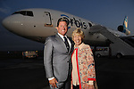 Brian and Donna Teichman at a welcome reception for the Orbis Flying Eye Hospital at Ellington Airport Tuesday Oct. 20,2015.(Dave Rossman photo)