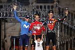 The final podium overall winner Red Jersey Primoz Roglic (SLO) Jumbo-Visma, 2nd place Enric Mas Nicolau (ESP) Movistar Team and 3rd Jack Haig (AUS) Bahrain Victorious at the end of Stage 21 of La Vuelta d'Espana 2021, an individual time trial running 33.8km from Padron to Santiago de Compostela, Spain. 5th September 2021.    <br /> Picture: Luis Angel Gomez/Photogomezsport | Cyclefile<br /> <br /> All photos usage must carry mandatory copyright credit (© Cyclefile | Luis Angel Gomez/Photogomezsport)