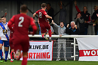 Jasper Pattenden of Worthing scores the first goal and celebrates  during Enfield Town vs Worthing, Pitching In Isthmian League Premier Division Football at the Queen Elizabeth II Stadium on 16th October 2021