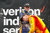 Verizon IndyCar Series<br /> IndyCar Grand Prix at the Glen<br /> Watkins Glen International, Watkins Glen, NY USA<br /> Sunday 3 September 2017<br /> Scott Dixon, Chip Ganassi Racing Teams Honda, Alexander Rossi, Curb Andretti Herta Autosport with Curb-Agajanian Honda, Ryan Hunter-Reay, Andretti Autosport Honda, podium, champagne<br /> World Copyright: Michael L. Levitt<br /> LAT Images