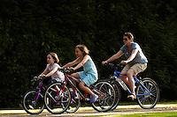 Marples family biking  , Bearsden , Virginia Water , Surrey  August 2011 pic copyright Steve Behr / Stockfile