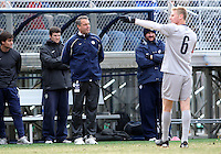 WASHINGTON, DC - NOVEMBER 25, 2012: Brian Weisse coach of Georgetown University against Syracuse University during an NCAA championship round of sixteen match at North Kehoe field, in Georgetown, Washington DC on November 25.