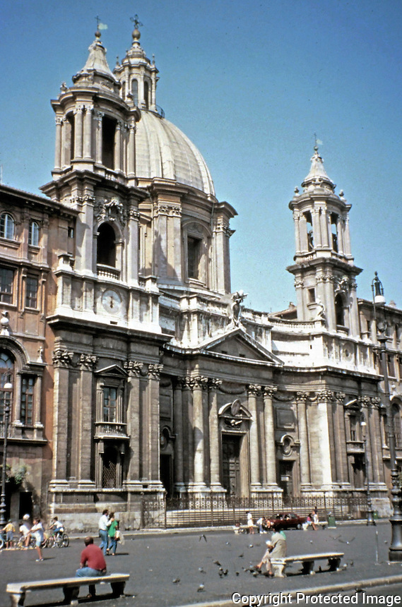 Saint Agnes in Piazza Navona, a public open space in Rome, Italy.