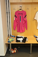 Pictured: Huw Jenkins, Swansea City Chairman's goalkeeper shirt in pink of the home team in the changing room. Sunday, 01 June 2014<br /> Re: Celebrities v Celebrities football game organised by Sellebrity Scoccer, in aid of Swansea City Community Trust, at the Liberty Stadium, south Wales.