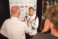 13-09-12, Netherlands, Amsterdam, Tennis, Daviscup Netherlands-Swiss, Draw Jan Roelfs interviews Jan Siemerink.