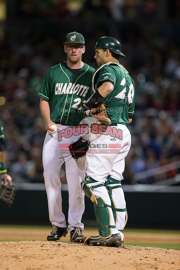 Charlotte 49ers catcher Nick Daddio (20) has a meeting on the mound with relief pitcher Trevor Gay (27) during the game against the North Carolina State Wolfpack at BB&T Ballpark on March 31, 2015 in Charlotte, North Carolina.  The Wolfpack defeated the 49ers 10-6.  (Brian Westerholt/Four Seam Images)