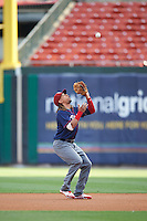 Lehigh Valley IronPigs second baseman Emmanuel Burriss (9) catches a popup during a game against the Buffalo Bisons on July 9, 2016 at Coca-Cola Field in Buffalo, New York.  Lehigh Valley defeated Buffalo 9-1 in a rain shortened game.  (Mike Janes/Four Seam Images)