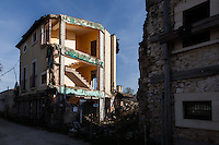 Onna, a few Kilometres from L'Aquila, is a village that was almost completely erased by the earthquake of April 6, 2009.  85% of its old buildings went destroyed, killing 40. <br /> The ruins of a house. <br />  Onna, Italy. April 10, 2015