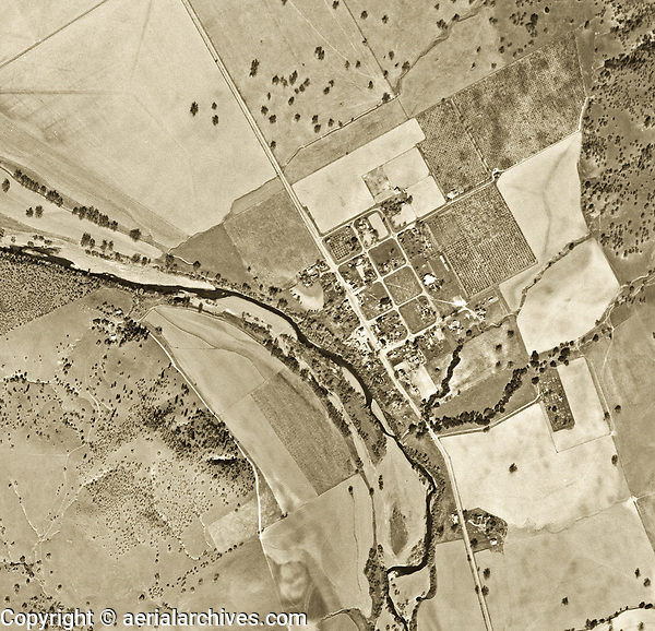historical aerial photo map of the town of Monticello and Putah Creek before creation of Lake Berryessa, Napa County, 1948.  Monticello was completely submerged upon construction of the Monticello Dam and creation of Lake Berryessa.