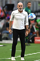 Stefano Pioli coach of AC Milan reacts during the Serie A 2021/2022 football match between AC Milan and SS Lazio at Giuseppe Meazza stadium in Milano (Italy), August 29th, 2021. Photo Image Sport / Insidefoto