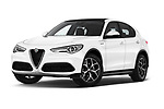 Stock pictures of low aggressive front three quarter view of 2020 Alfaromeo Stelvio Super 5 Door SUV Low Aggressive