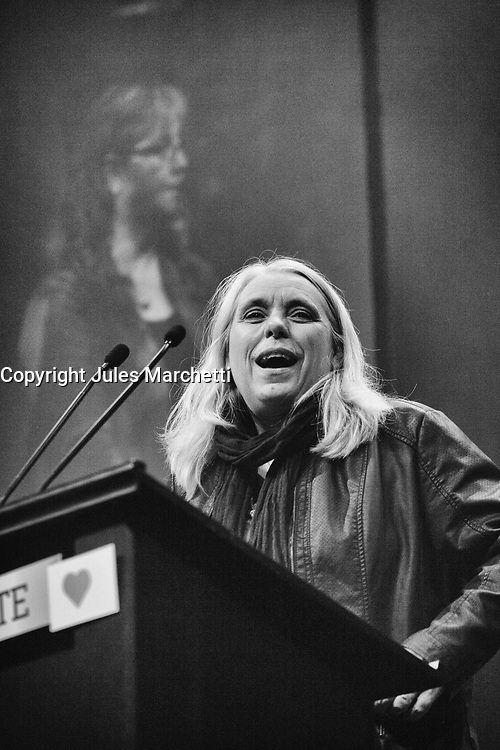 Manon Masse speak at Quebec Solidaire gathering at Olympia theatre on election night, April 7, 2014 <br /> <br /> Photo : Agence Quebec Presse -  Jules Marchetti