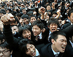 February 13, 2013, Tokyo, Japan - Hundreds of vocational school would-be graduates are in high spirits during a prep rally for job hunting at a park in the heart of Tokyo on Wednesday, February 13, 2013. According to a labor ministry survey as of October 1, 2012, out of  226,000 would-be graduates from advanced vocational schools across the country in April this year, only 91,000 or 42.6% had job offers from employers. Nearly two years after the country's worst disaster, employers in many job sectors are hiring again. Still the job outlook for Japanese youngsters are still gloomy.  (Photo by Natsuki Sakai/AFLO)