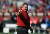 Arkansas head coach Sam Pittman gestures, Saturday, October 9, 2021 before a football game at Vaught Hemingway Stadium in Oxford, Miss. Check out nwaonline.com/211010Daily/ for today's photo gallery. <br /> (NWA Democrat-Gazette/Charlie Kaijo)