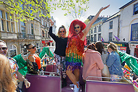 Pictured: Eastenders actress Charlie Brooks (L). Saturday 04 May 2019<br /> Re: Swansea Pride Parade in south Wales, UK.