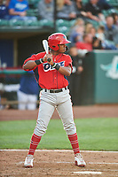 Jose Verrier (12) of the Orem Owlz bats against the Ogden Raptors at Lindquist Field on June 20, 2019 in Ogden, Utah. The Owlz defeated the Raptors 11-8. (Stephen Smith/Four Seam Images)