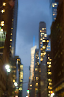 AVAILABLE FROM WWW.PLAINPICTURE.COM FOR LICENSING.  Please go to www.plainpicture.com and search for image # p5690253.<br /> <br /> Soft Focus Cityscape on 42nd Street Looking West at Dusk, Midtown Manhattan, New York City, New York State, USA