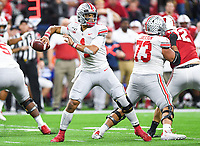 Indianapolis, IN - DEC 7, 2019: Ohio State Buckeyes quarterback Justin Fields (1) throws the football from the pocket during Big Ten Championship game between Wisconsin and Ohio State at Lucas Oil Stadium in Indianapolis, IN. Ohio State came back from a 21-7 deficit at halftime to beat Wisconsin 34-21 to win its third straight Big Ten Championship. (Photo by Phillip Peters/Media Images International)