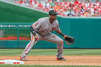 7 August 2016: San Francisco Giants third baseman Eduardo Nunez in action against the Washington Nationals at Nationals Park in Washington, DC. The Nationals shut out the Giants 1-0 to take the rubber match of their 3-game series. Mandatory Credit: Ed Wolfstein Photo *** RAW (NEF) Image File Available ***