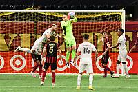 ATLANTA, GA - SEPTEMBER 02: Brad Guzan #1 of Atlanta United FC cuts of a crossed ball during a game between Inter Miami CF and Atlanta United FC at Mercedes-Benz Stadium on September 02, 2020 in Atlanta, Georgia.