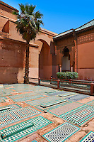 The arabesque graves of the Saadian Tombs the 16th century mausoleum of the Saadian rulers, Marrakech, Morroco