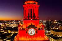 The UT Clock Tower sits a top of the main building. The tower is an iconic structure in the Austin skyline. The tower can be seen from most locations in downtown Austin because it is 307 feet tall and is located in the center of campus at the University of Texas.