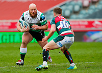 28th March 2021; Mattoli Woods Welford Road Stadium, Leicester, Midlands, England; Premiership Rugby, Leicester Tigers versus Newcastle Falcons; Kyle Cooper of Newcastle Falcons takes on George Ford of Leicester Tigers