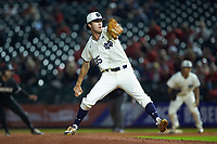 Notre Dame Fighting Irish relief pitcher Peter Solomon (35) in action against the Louisville Cardinals in Game Eight of the 2017 ACC Baseball Championship at Louisville Slugger Field on May 25, 2017 in Louisville, Kentucky. The Cardinals defeated the Fighting Irish 10-3. (Brian Westerholt/Four Seam Images)