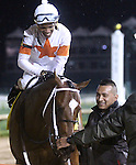 April 25, 2015 Churchill Downs Opening Night.  Cinco Charlie (Ricardo Santana Jr.) wins the first running of the $100,000 William Walker Stakes.  Owner L. William and Corinne Heiligbrodt, trainer Steven M. Asmussen. By Indian Charlie x Ten Halos (Marquetry)  ©Mary M. Meek/ESW/CSM
