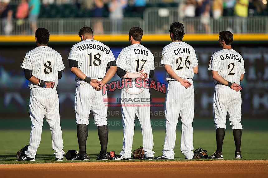 (L-R) Cleuluis Rondon (8), Matt Tuiasosopo (18), Jason Coats (17), Tyler Colvin (26) and Drew Garcia (2) line up for the National Anthem prior to the game against the Rochester Red Wings at BB&T BallPark on August 8, 2015 in Charlotte, North Carolina.  The Red Wings defeated the Knights 3-0.  (Brian Westerholt/Four Seam Images)