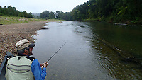 Russ Tonkinson enjoys the solitude, quiet and good fishing on the Elk River Sept. 11 2020, the Friday after Labor Day. The stream is busy and packed with canoes and kayaks during summer. Come September, it's a fisherman's river once again. <br />(NWA Democrat-Gazette/Flip Putthoff)