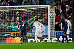 Sergio Ramos of Real Madrid and Keylor Navas and Presnei Kimpembe of Paris Saint-Germain FC during UEFA Champions League match between Real Madrid and Paris Saint-Germain FC at Santiago Bernabeu Stadium in Madrid, Spain. November 26, 2019. (ALTERPHOTOS/A. Perez Meca)